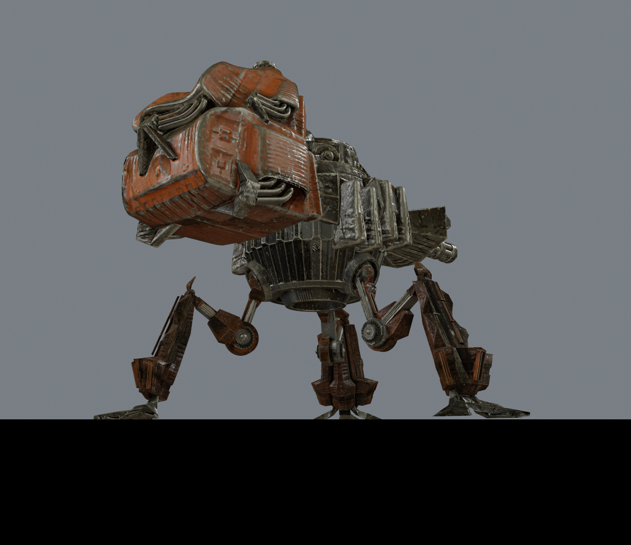 Low Poly Game Asset with PBR Textures (Mech2)